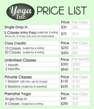 Yoga Inc. 料金 シンガポール ヨガ