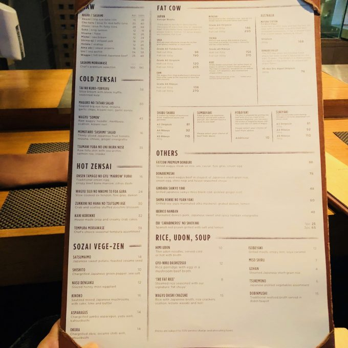 Fat cow menu singapore